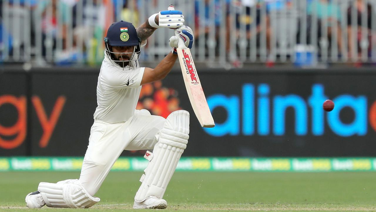 Virat Kohli looms again as the thorn in Australia's side — at least in Adelaide. Picture: AAP