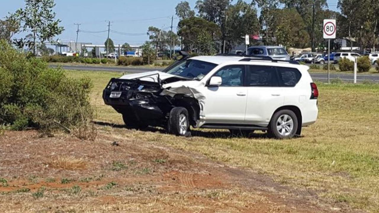 The second vehicle involved in an early morning crash in Dalby. Picture: Lachlan Berlin