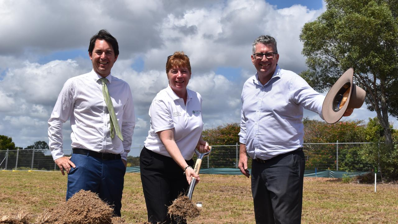 SOD TURNING: (L) Mayor George Seymour, Founder and Secretary of Fraser Coast Hospice Association Jasine Leslie and Minister Keith Pitt turn the first sod at the sit of the Hervey Bay Hospice. Photo: Stuart Fast