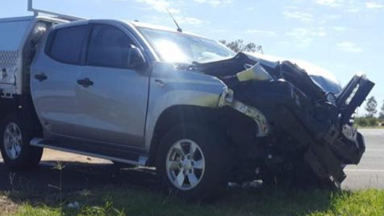 EARLY MORNING CRASH: Paramedics rushed to a two vehicle crash along the Warrego Hwy this morning. Picture: Lachlan Berlin