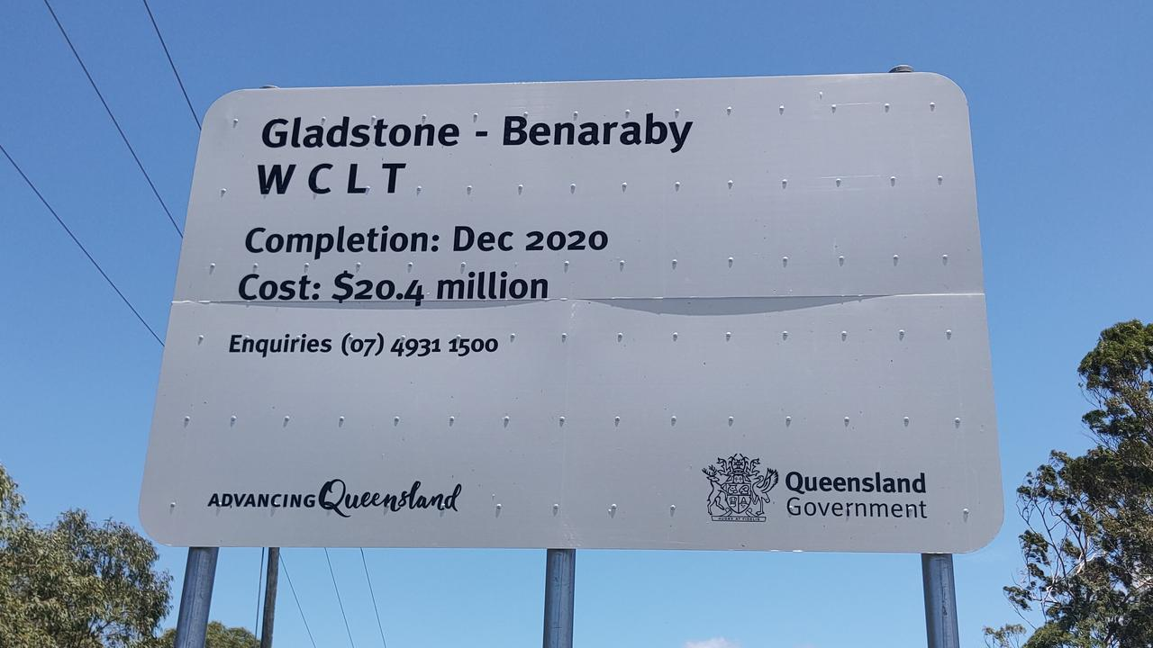 The sign at Toolooa at the start of the Gladstone Benaraby roadworks states the project would cost $20.4 million but the Department of Transport and Main Roads said the project has cost $24.4 million. Picture: Rodney Stevens
