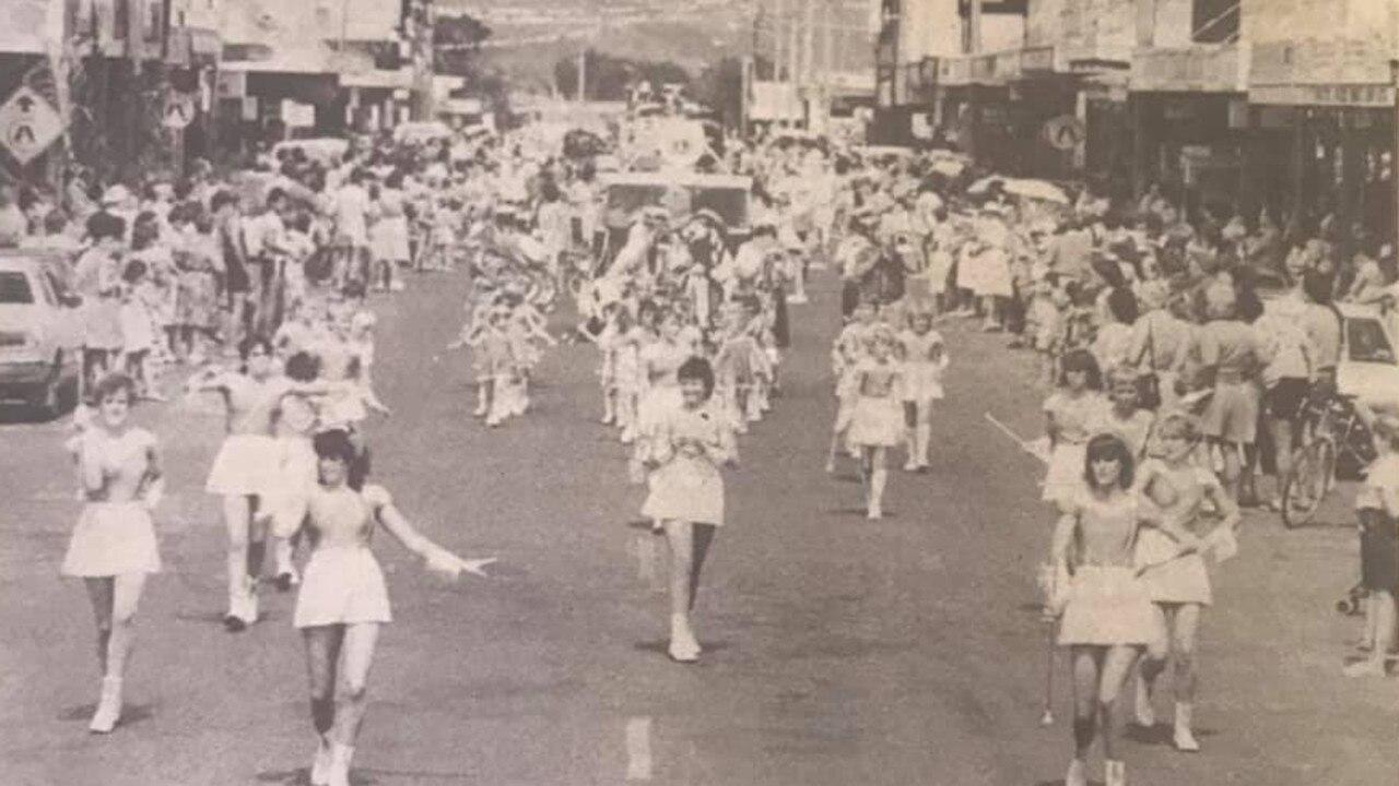 Baton twirlers leading the Harvest Festival down Main Street, Proserpine , November 1985. Picture: Supplied