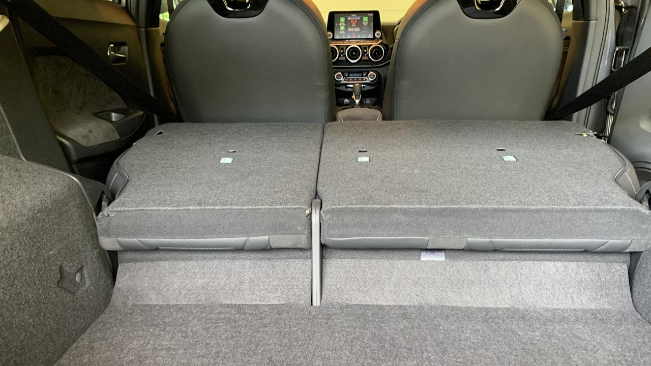 Excellent boot space is a key gain in the Nissan Juke Ti but the load area isn't flat when the rear seats drop.