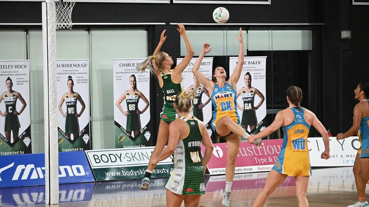 Action from the Sapphire Series preliminary final won by the USQ Ipswich Jets over Thunder at the Queensland State Netball Centre. Picture: Ipswich Jets Media