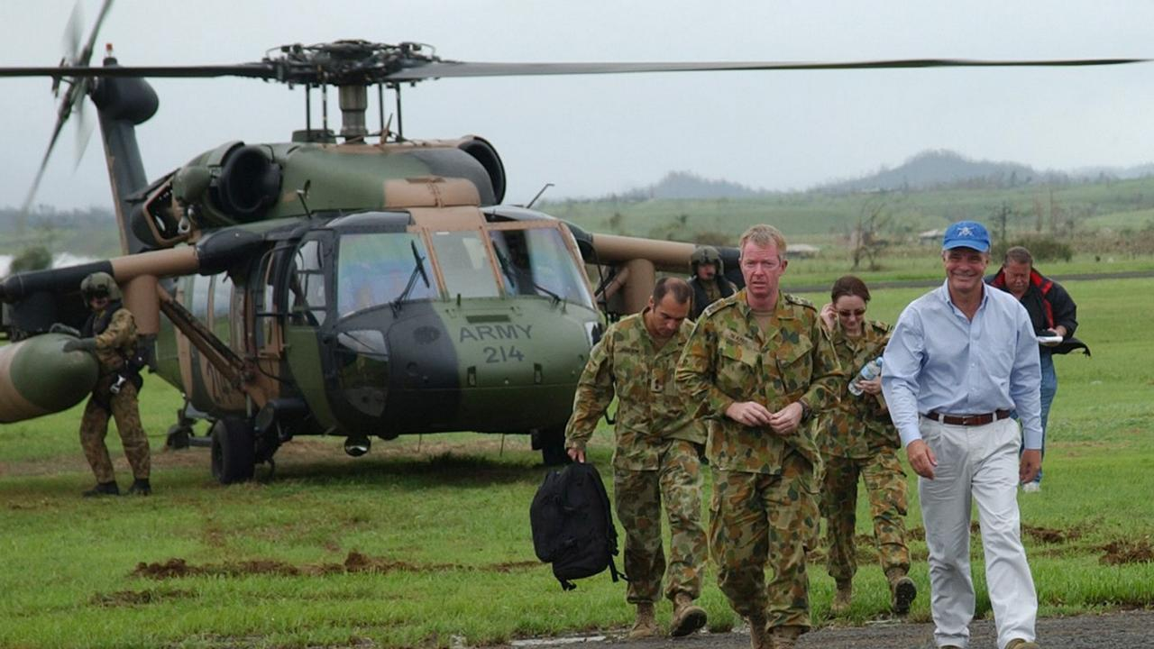 Dr Brendan Nelson WITH Brigadier Michael Slater, Commander of the Joint Task Force co-ordinating the defence operations in support of the Queensland Government disaster plan in the aftermath of Cyclone Larry. Picture: Supplied