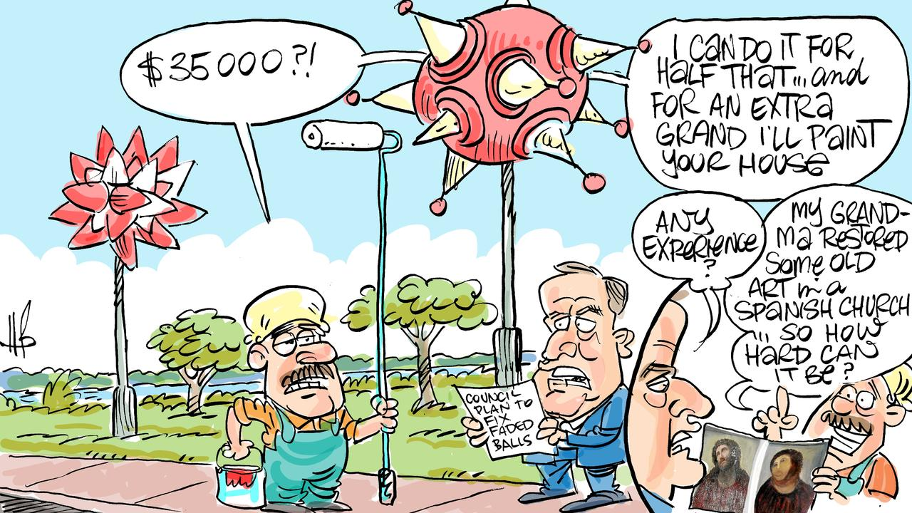 Cartoonist Harry Bruce takes a swipe at the Mackay Regional Council proposal to upgrade the 'True North' public artworks on Matsuura Dr.