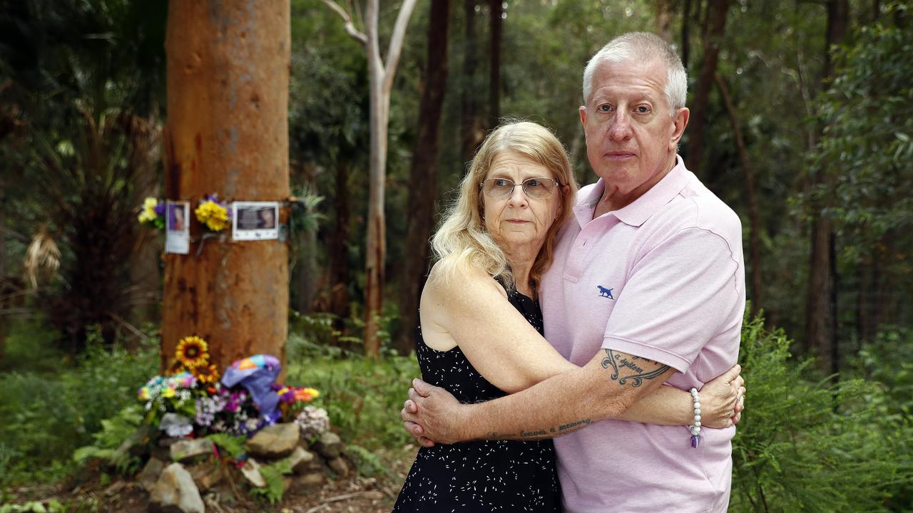 Mark and Faye Leveson in the bushland where they found Matthew's body Picture: Sam Ruttyn