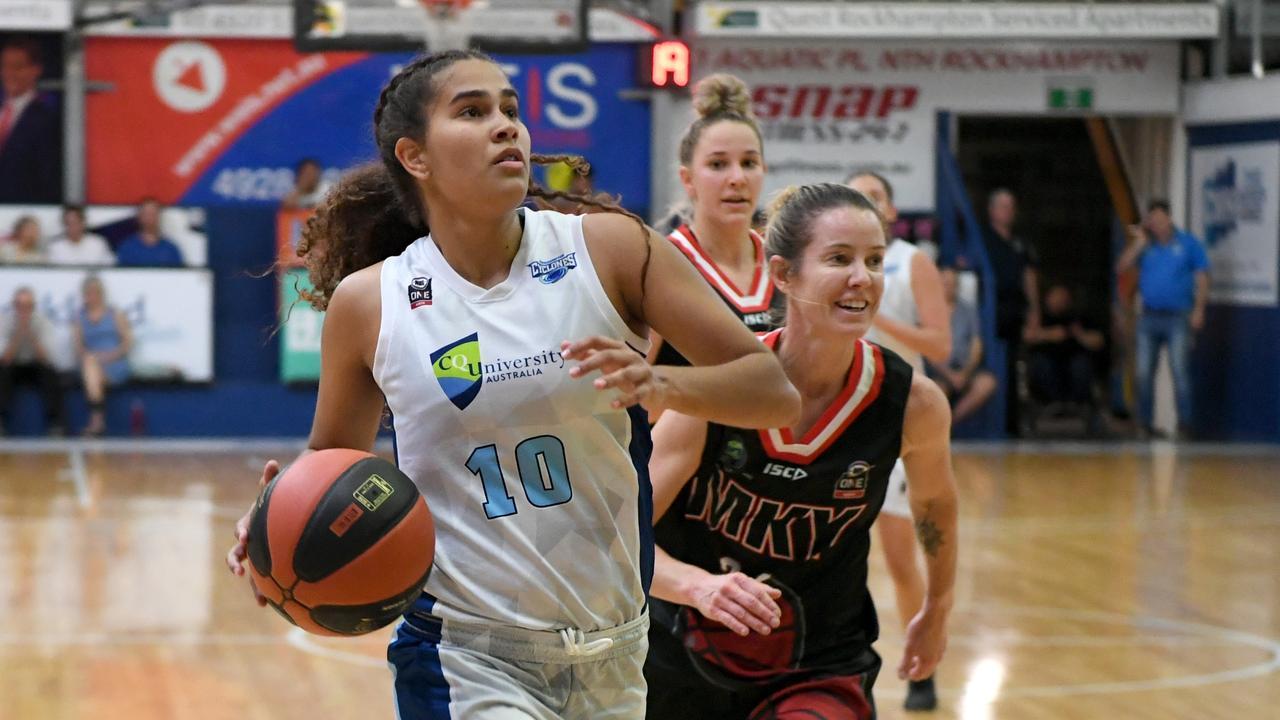 BASKETBALL ConocoPhillips CQ Cup Rd 1: Rockhampton Cyclones' Akaysha Muggeridge with the ball