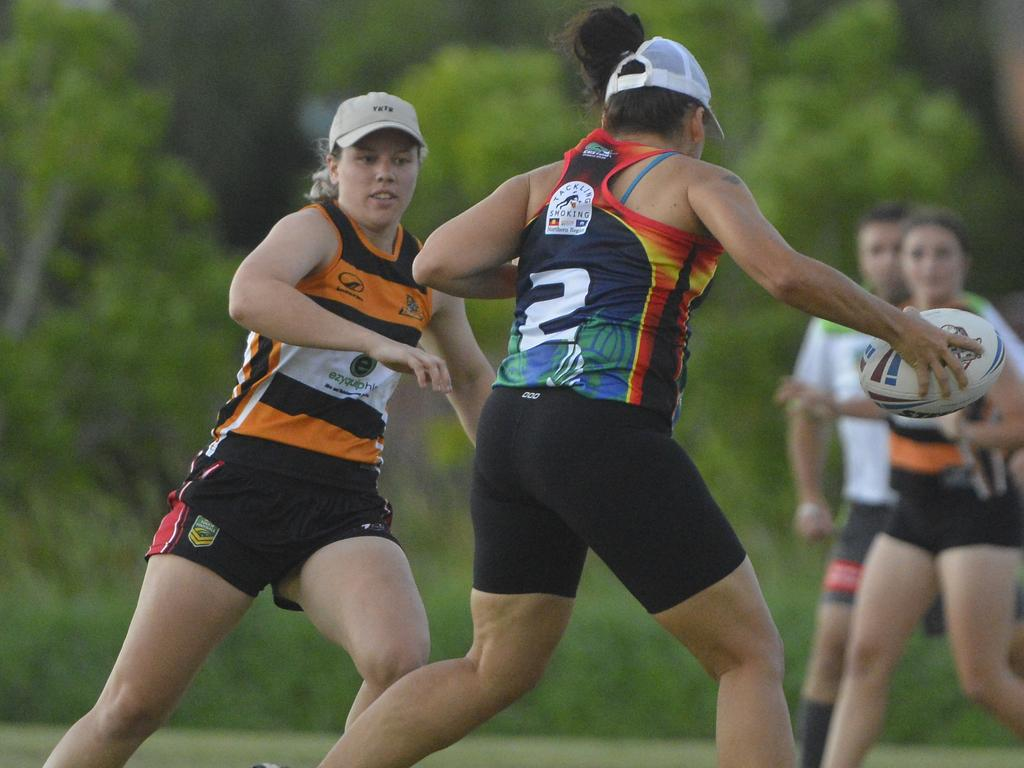 Tigers' Katie Green (left) was named best on ground in the Senior Women's Touch grand final.