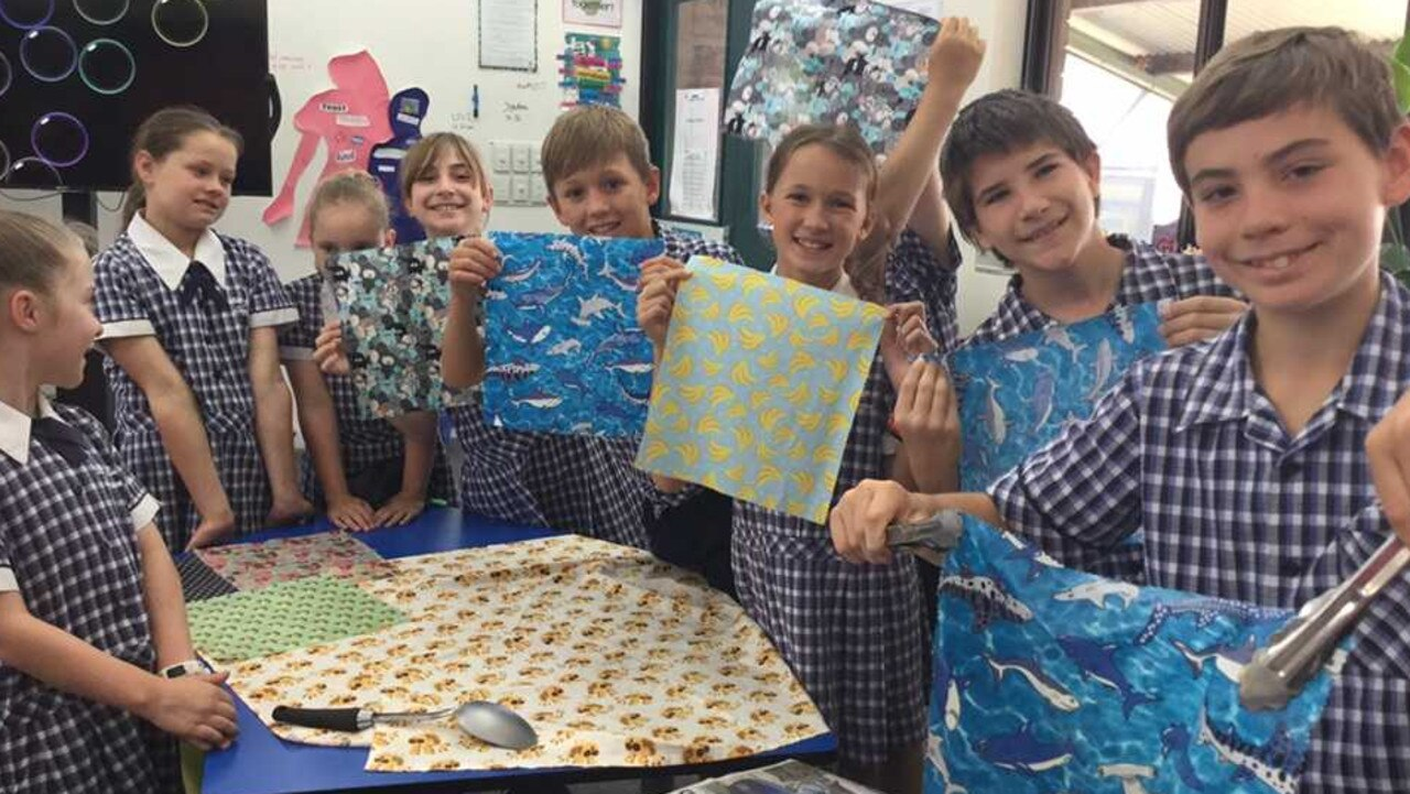 Bundaberg's St John's Lutheran Primary School students are all smiling after they participated in one of the beeswax wrap workshops.