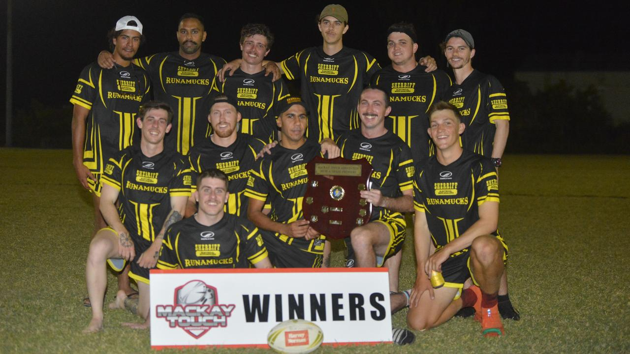 Sherriff Electrical Runamucks defeated Magpies Bombers 11-3 in the Senior Men's Touch grand final. Captain Aaron Hughes (middle, second from right) was named best on ground.