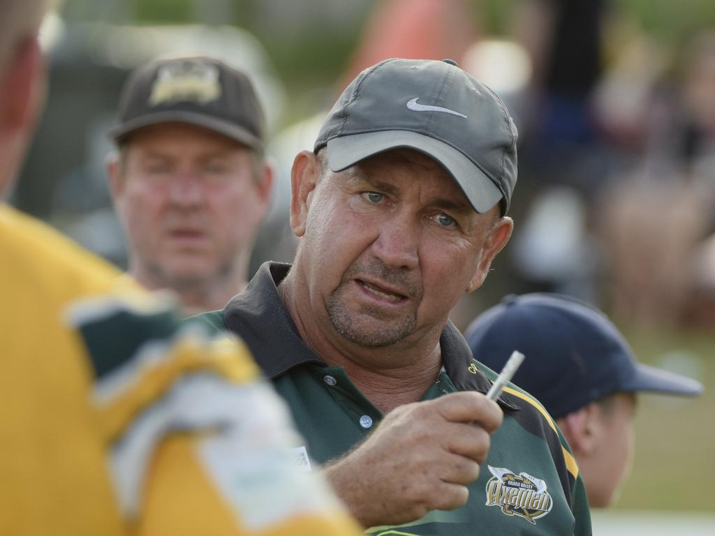 Coach Col Speed talks to his Orara Valley players at half-time during the Hoey Moey Tooheys Coffs Coast 9s final against Coffs Harbour Comets at Geoff King Motors Park. The Axemen won 12-10. February 17, 2018