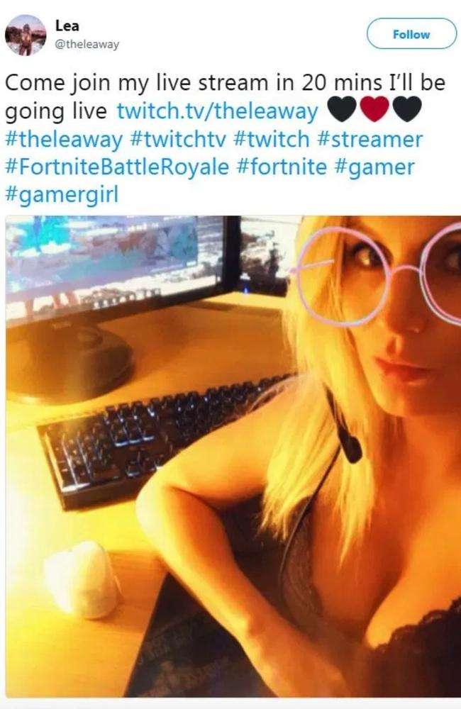 After she returned to work it emerged she was flashing her cleavage while playing online games for cash. Picture: Twitter