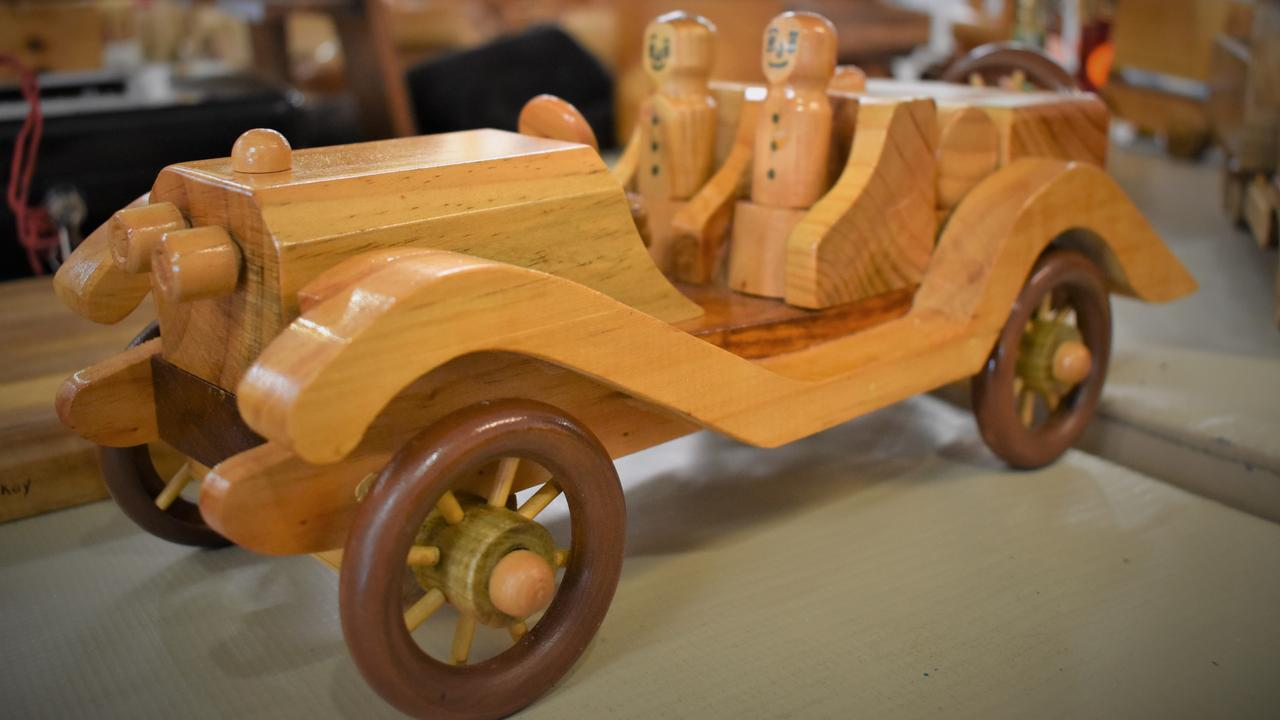 Just one of the many toys made by the Beaconsfield Road Men's Shed wood-turners on display at the Christmas Arts and Crafts Fair held at the Mackay Art Society, Beaconsfield, Sunday November 22, 2020. To get in touch, phone the Beaconsfield Road Men's Shed on 4942 3321 or head down to the shed on Beaconsfield Rd from 8am-noon on Mondays and Wednesdays Picture: Heidi Petith