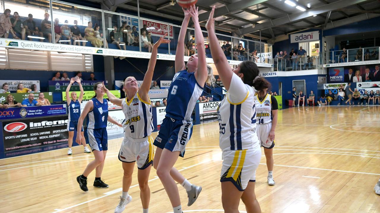 Rockhampton Cyclones' Tori Rouse flies high in Saturday's semi-final showdown. Photo: Jann Houley