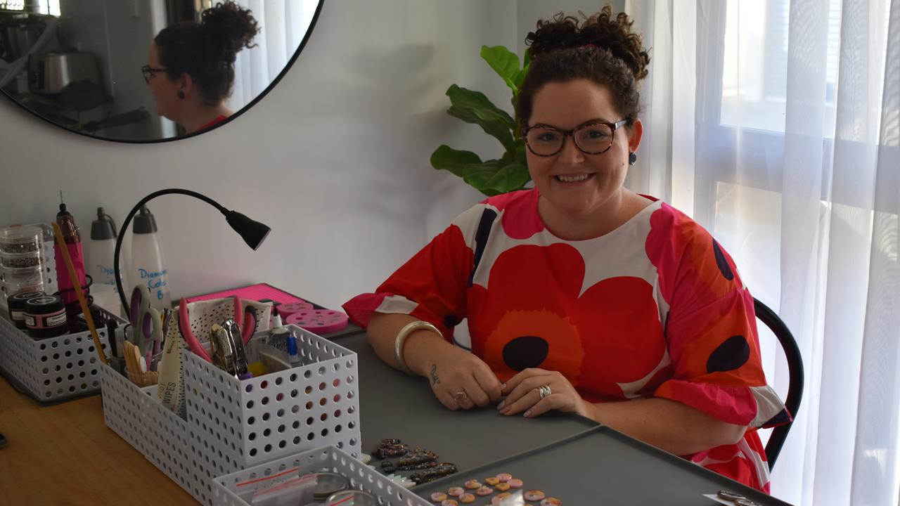Owner of start-up business Nalu Krystal Gordon makes her own jewellery pieces and homewares out of resin. Picture: Rhylea Millar