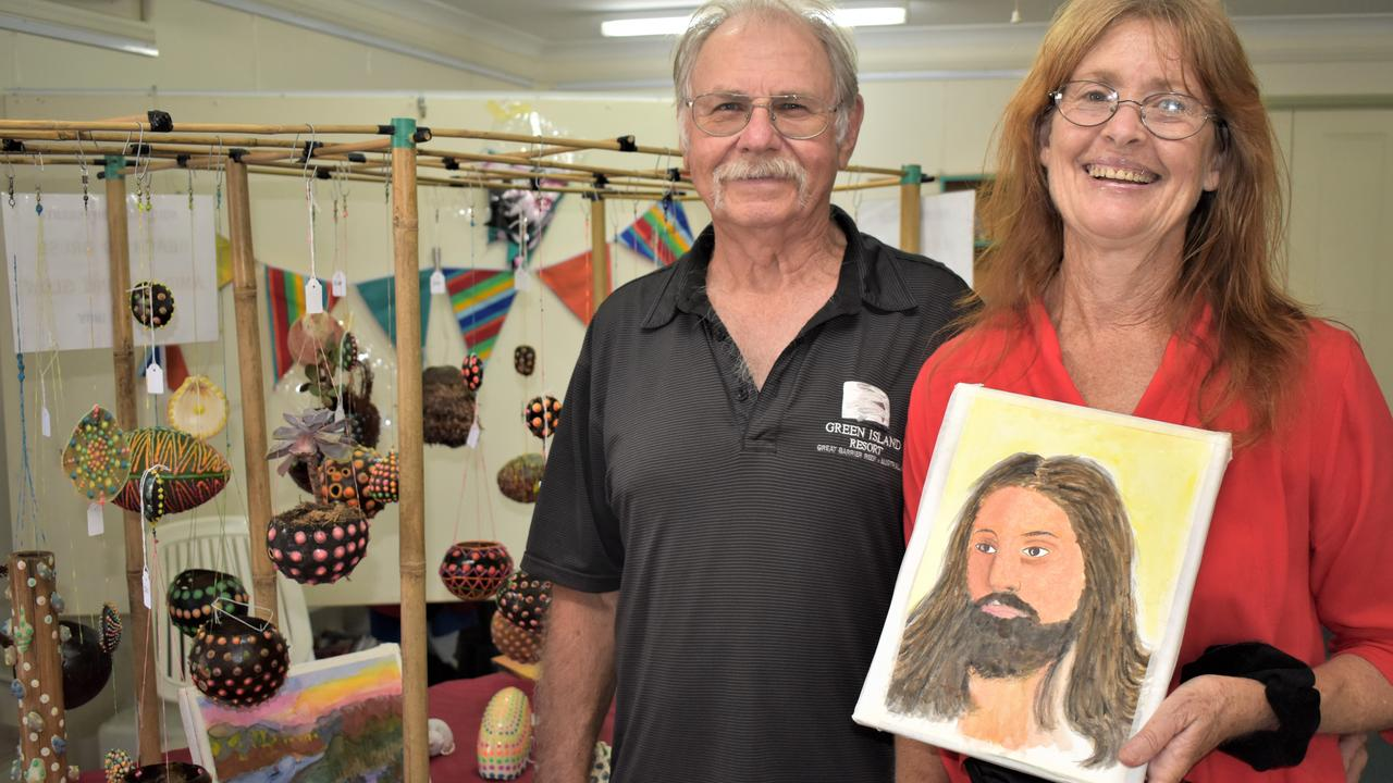 Artists Michael and Julia Ibbotson with their unique pieces at the Christmas Arts and Crafts Fair held at the Mackay Art Society, Beaconsfield, Sunday November 22, 2020. To get in touch, phone 0422 399 073. Picture: Heidi Petith