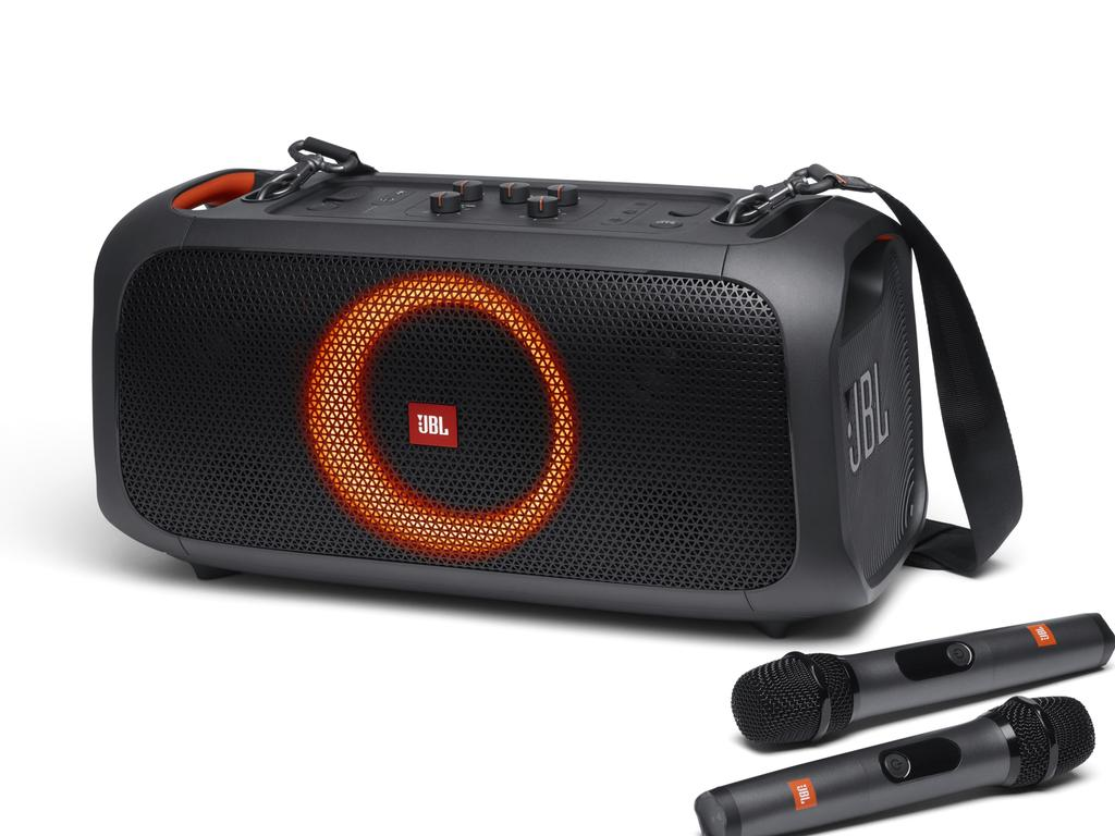 The JBL PartyBox On-The-Go features lights that move the music you play through it.