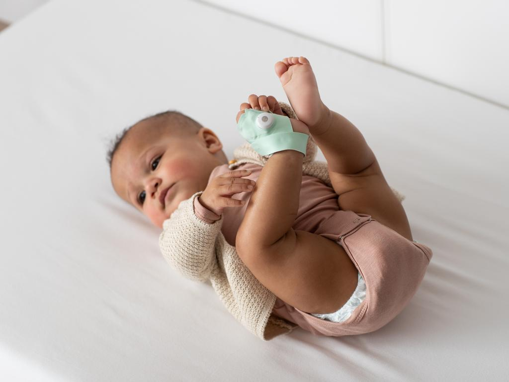 The Owlet Smart Sock Baby Monitor 3 features sensors that monitor a baby's heart rate, oxygen level and sleep. Picture: Supplied