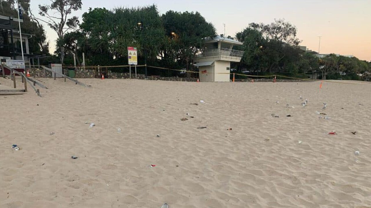 Part of Noosa Main Beach was closed on Sunday morning for a clean up after Saturday night's schoolies celebrations.