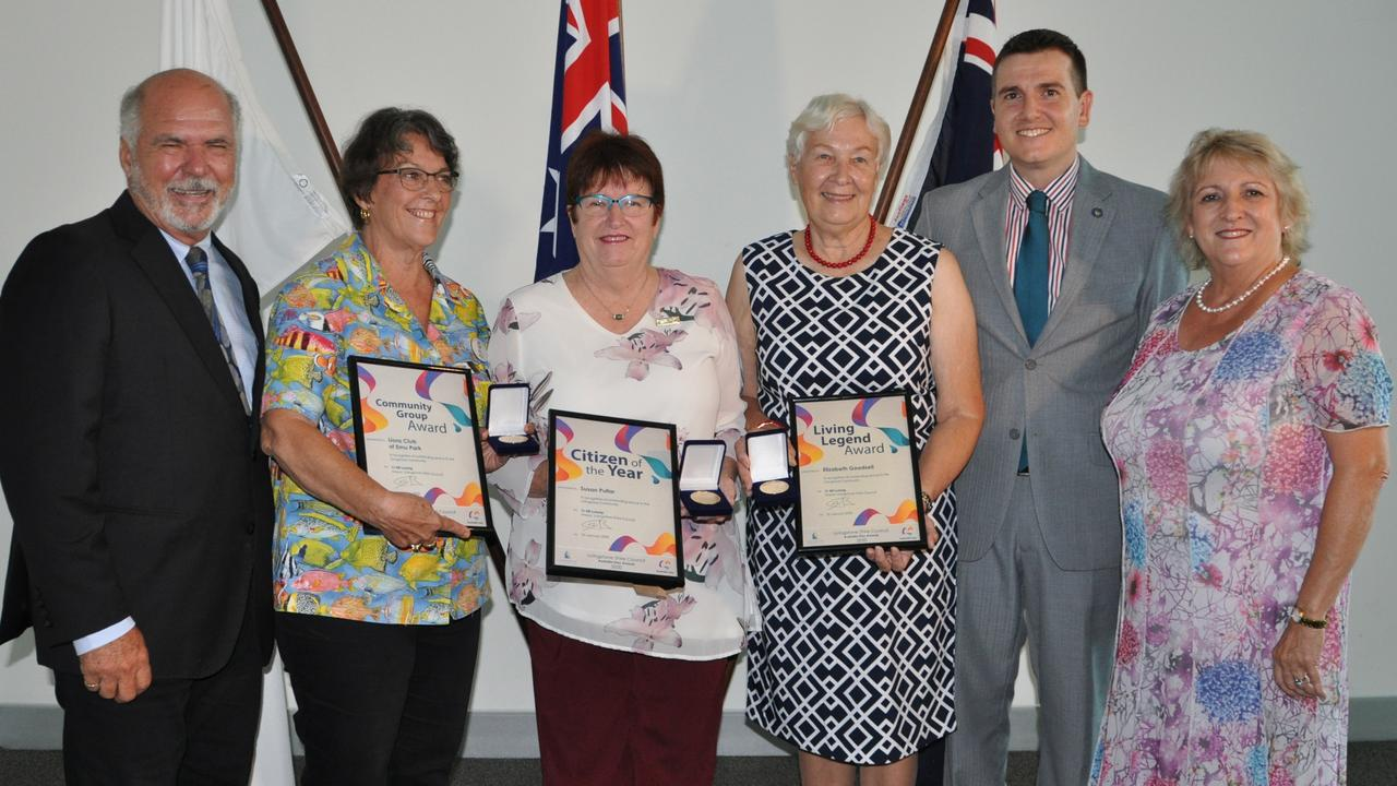 2020 AUSTRALIA DAY AWARDS: Former Livingstone Mayor Bill Ludwig, Emu Park Lions, Citizen of the Year Susan Pullar, Living Legend Elizabeth Goodsell, Livingstone Deputy Mayor Nigel Hutton and Federal Member for Capricornia Michelle Landry. Picture: Trish Bowman