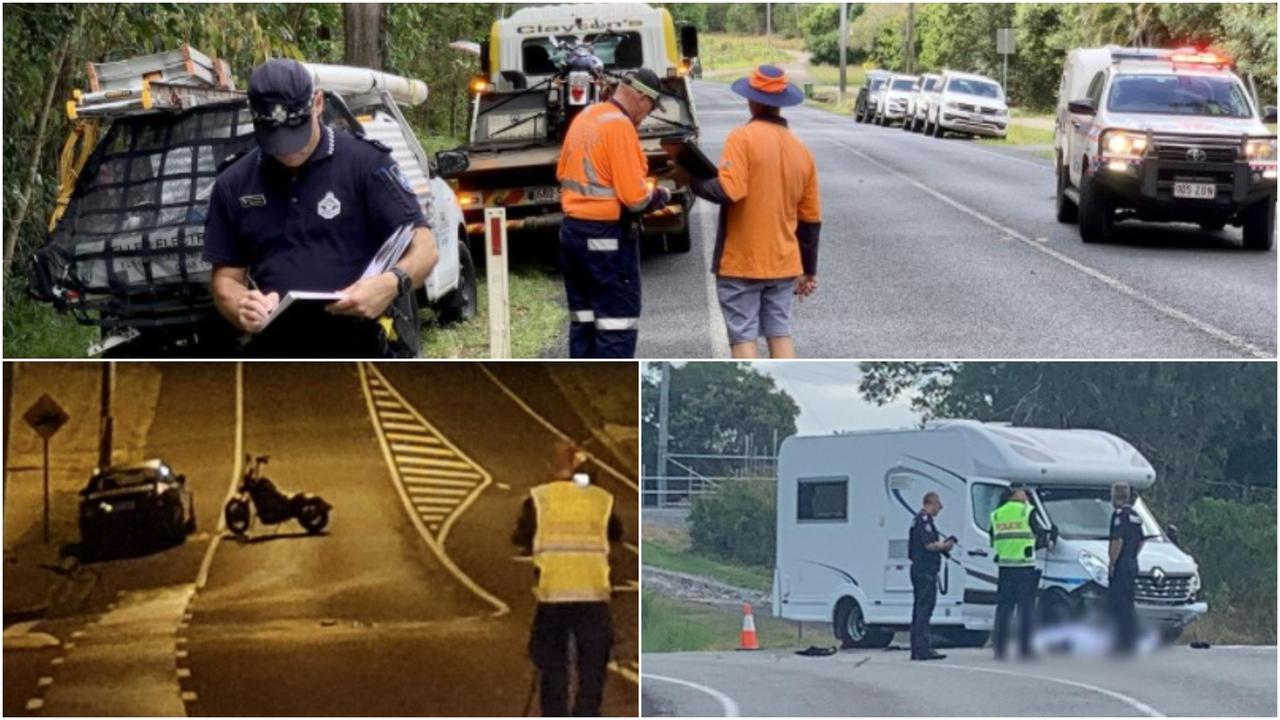 There have been at least five fatal crashes involving motorbikes on Sunshine Coast roads since June. L-R: Police on scene at a fatal crash in Mooloolah Valley, then at Black Mountain and lastly at Nambour.