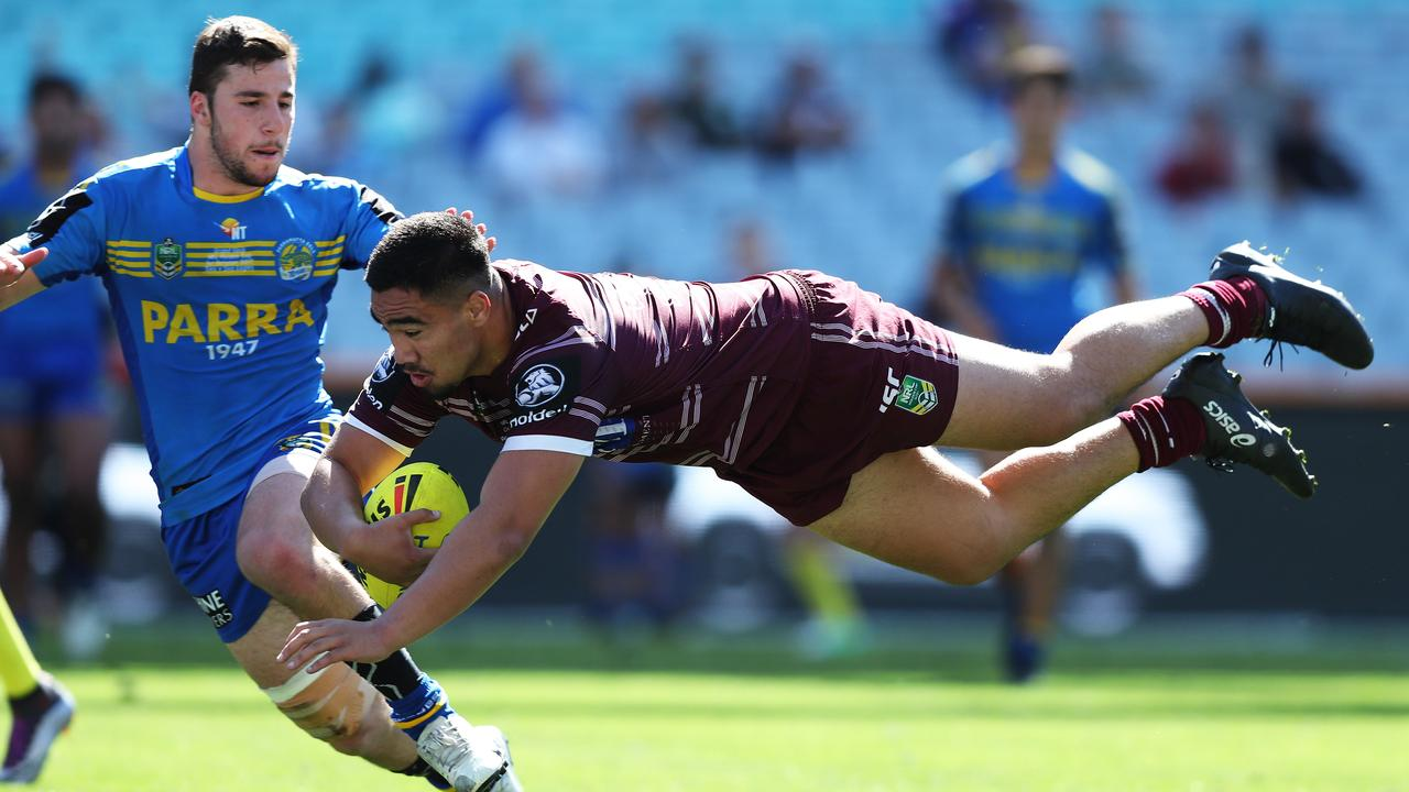 Manly's Keith Titmuss scores the winning try during the 2017 Holden Cup grand final against Parramatta at ANZ Stadium. Picture: Brett Costello