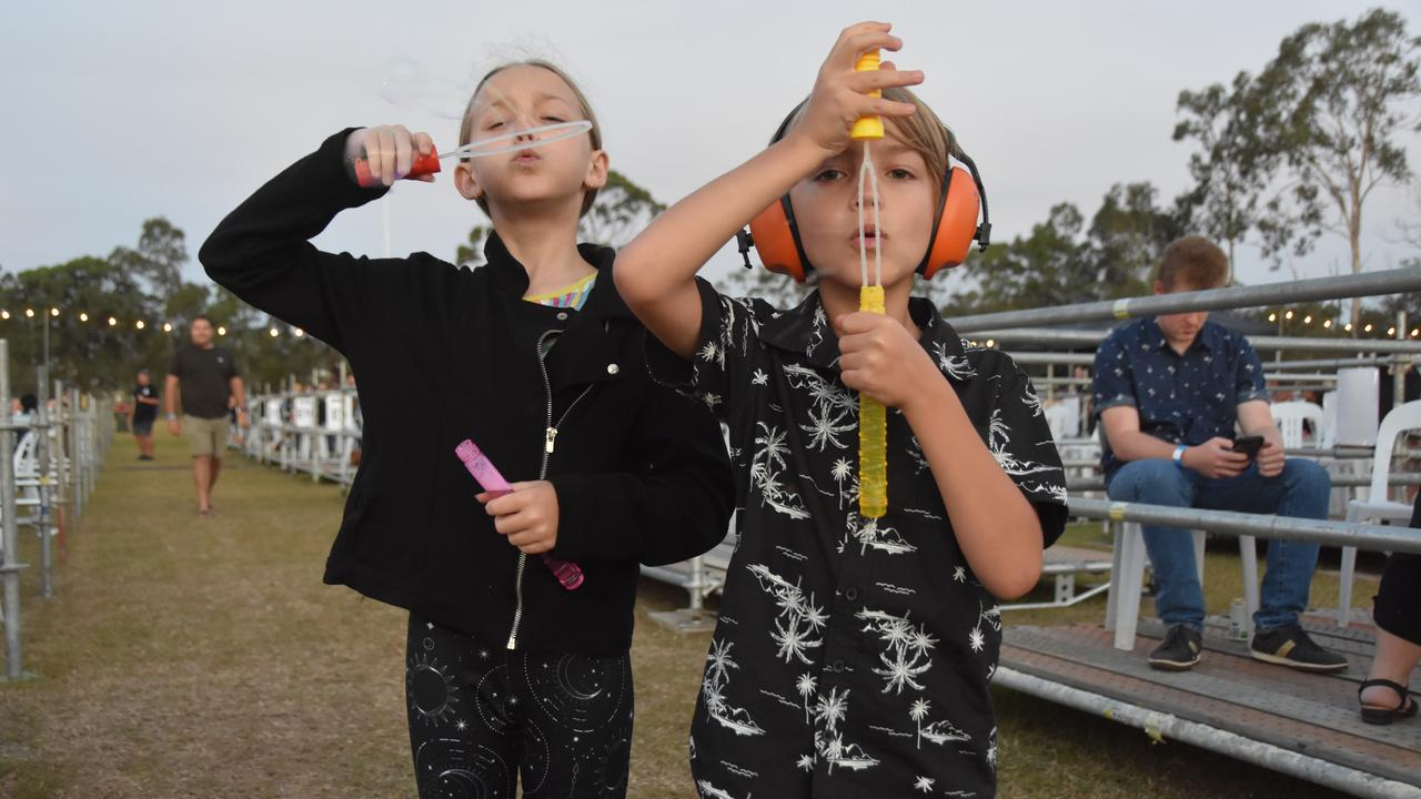 Abigail and Clayton O'Toole got busy blowing bubbles at the Air Beats Open Air Festival last night.