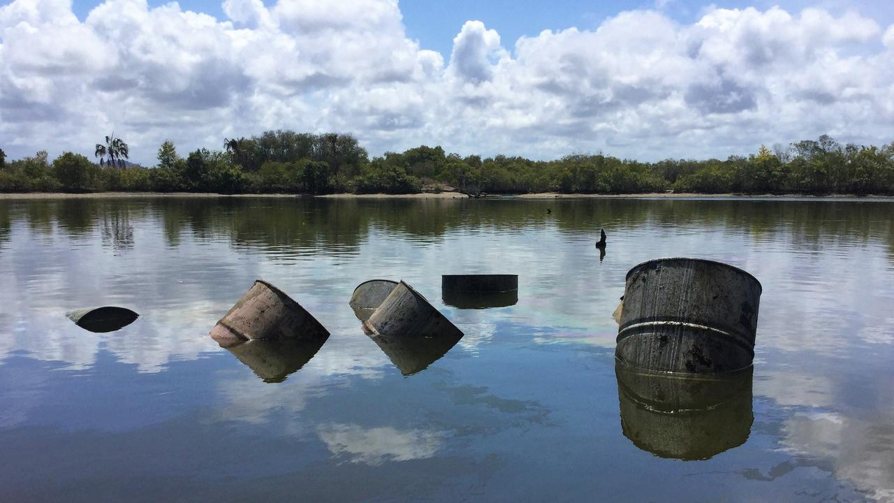 Drums dumped in a lagoon north of Yeppoon late last year. Photo supplied.