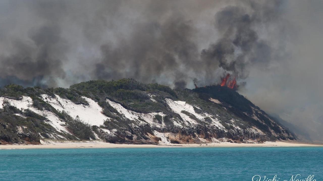 Photos of the fire burning on Fraser Island. - Vicki Neville