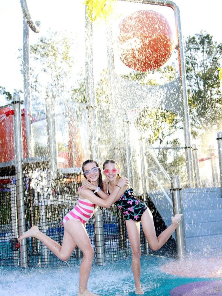 Best friends Caitlyn Barnes and Emma Bourke at the Greg Cruickshank Aquatic Centre. Photo: File
