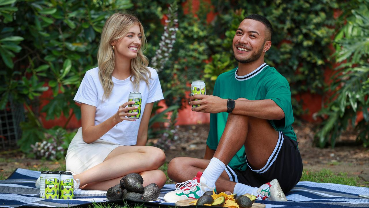 Tahlia Jones and James Vidigal enjoying and Aussie Avo Ale. Picture: Justin Lloyd.