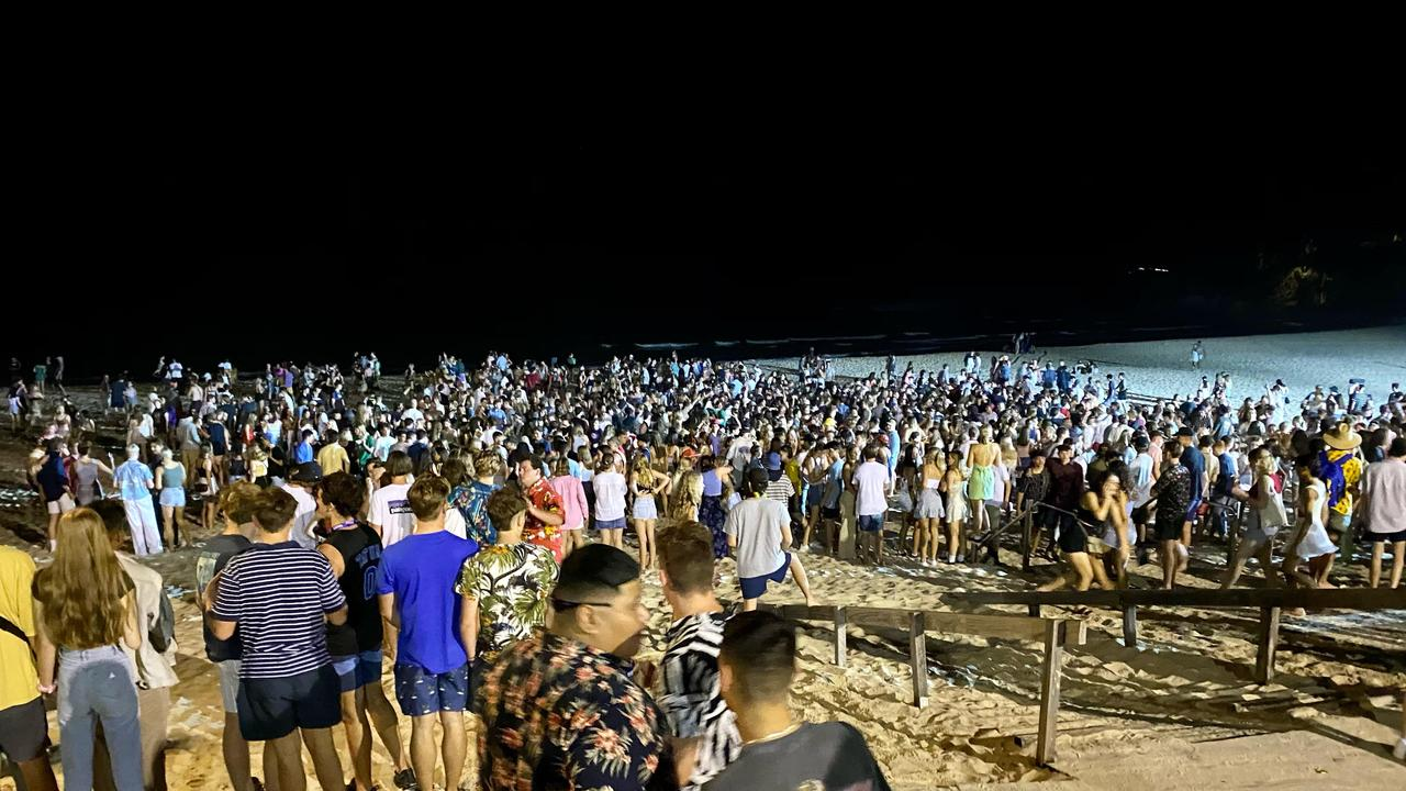 Noosa police say up to 2500 students gathered at Noosa Main Beach for Schoolies celebrations on Sunday night. Picture: Supplied.