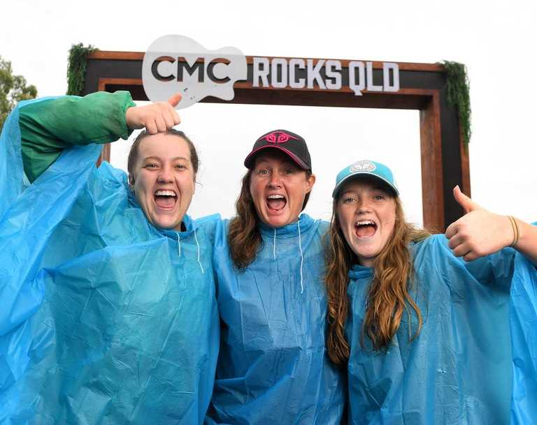 Chloe, Lisa and Hannah Clarke from Crow's Nest at CMC Rocks in 2019.