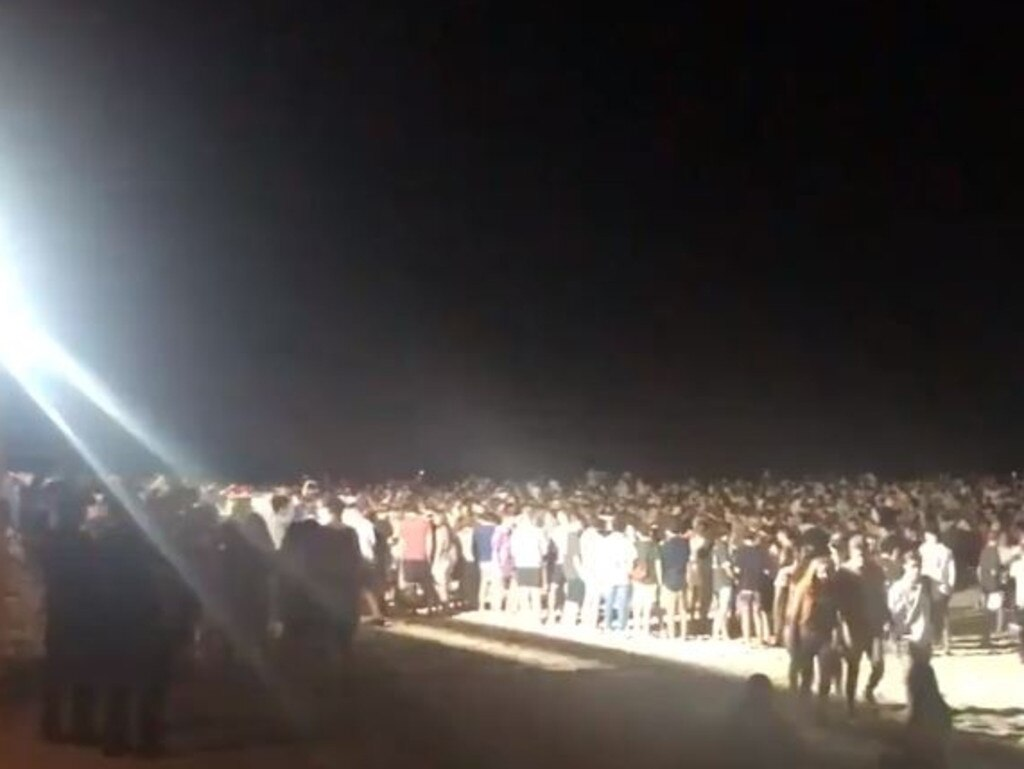 Schoolies crowd at Noosa Main Beach. Picture: Supplied