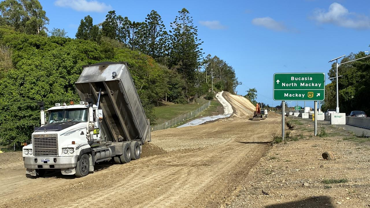 Widening works along the Bruce Highway near Phillip St, Mount Pleasant. Picture: Department of Transport and Main Roads