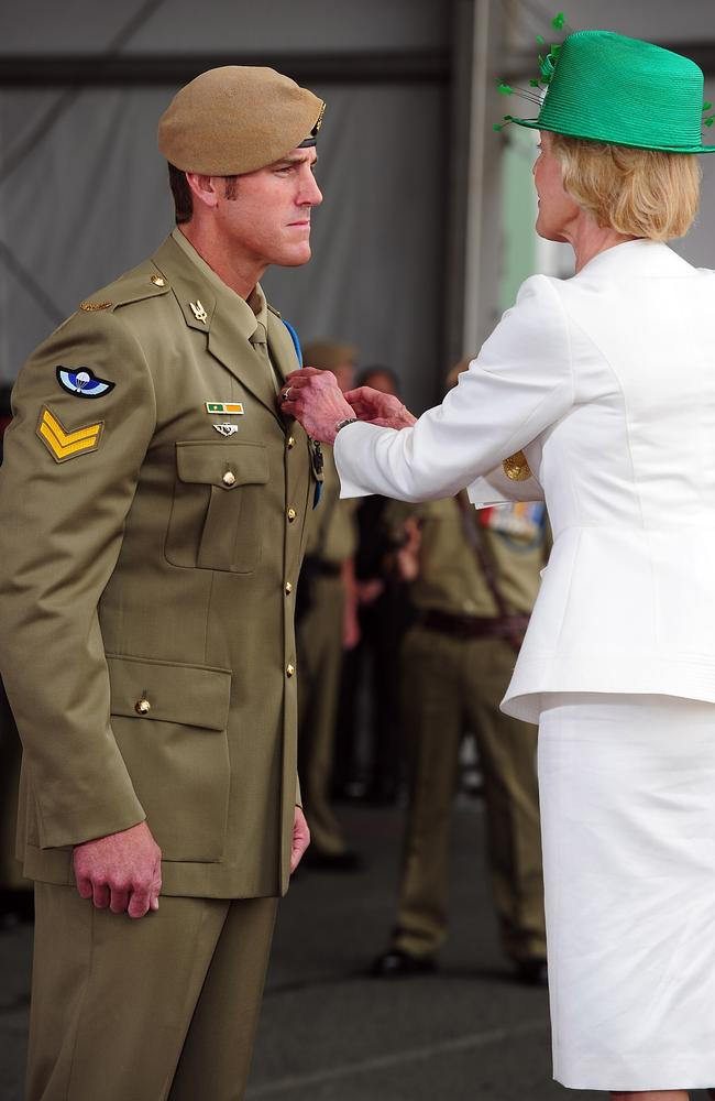 Then governor-general Quentin Bryce awards Ben Roberts-Smith the Victoria Cross in Perth in 2011.