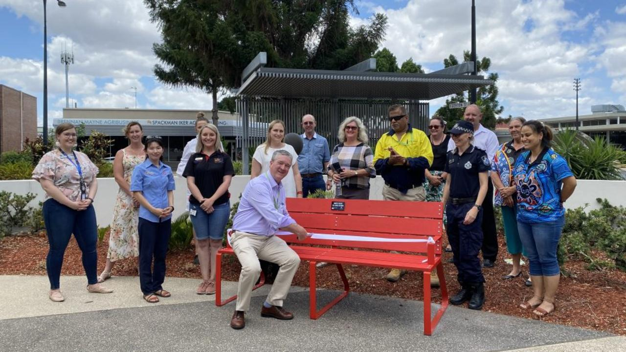Central Highlands Regional Council has unveiled a red bench at the Emerald Council Chambers to show its support for raising awareness around domestic and family violence.