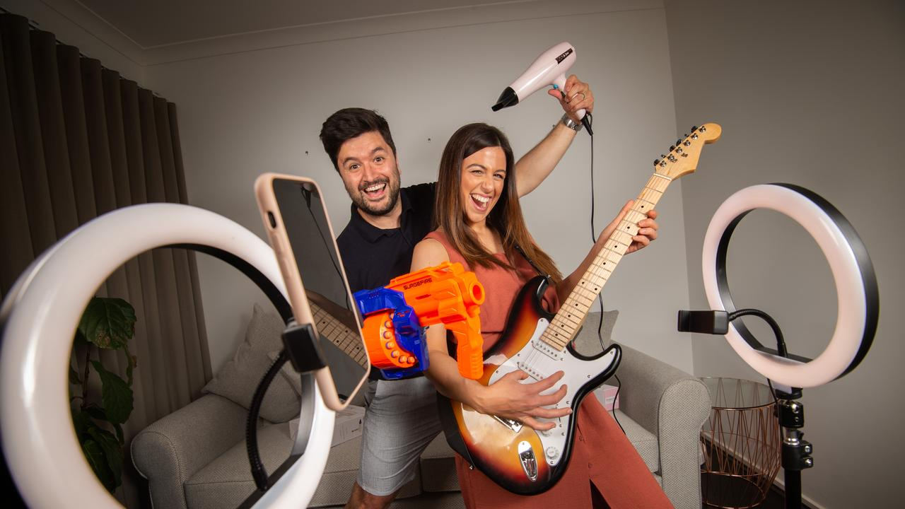 Jasmine Pisasale and her partner Daniel Angelucci with a range of fun gift products for him and her. Picture: Tony Gough