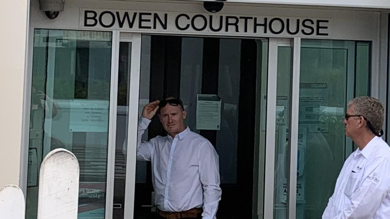 Suspended constable Andrew O'Brien (left) at Bowen courthouse where he appeared on charges of misconduct in relation to public office and computer misuse in May and October this year.