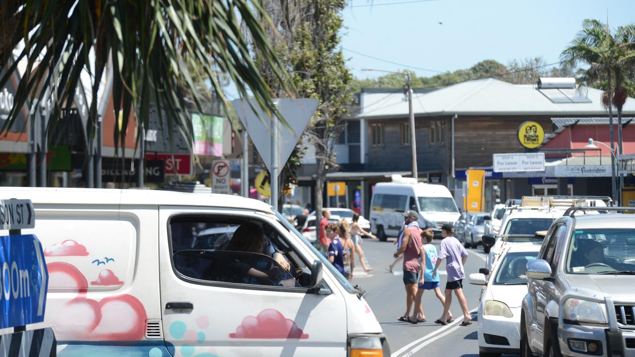 Heavy traffic in Byron Bay on Monday, November 23. Picture: Liana Boss