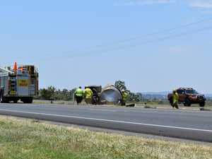 Milk tanker rolls on Warrego highway