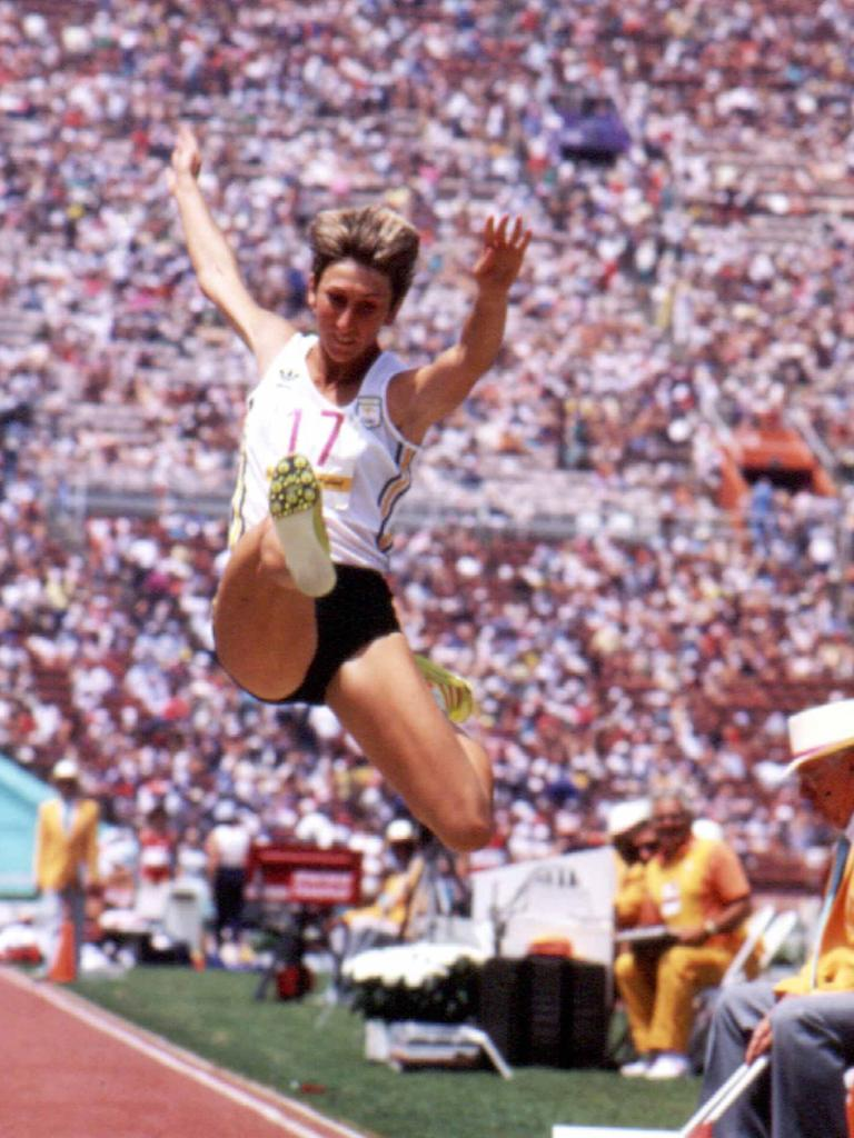 Nunn competing in long jump during the 1984 Olympic Games.