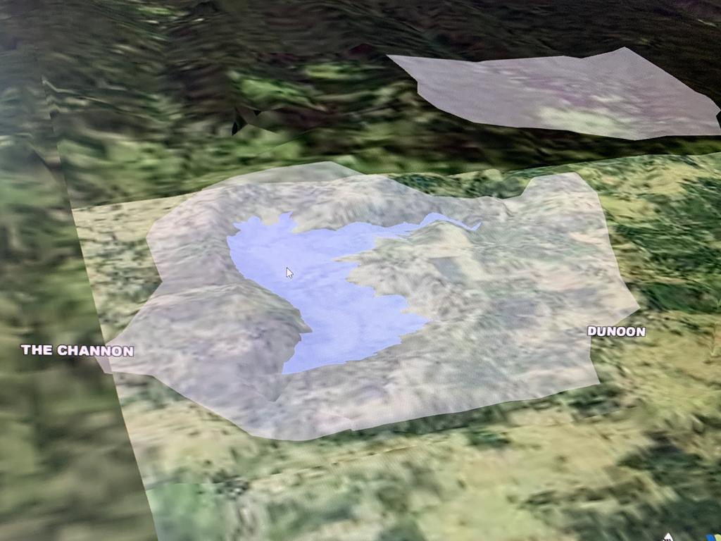A 3D model of the proposed Dunoon dam, part of a digital map created by Rous County Council.