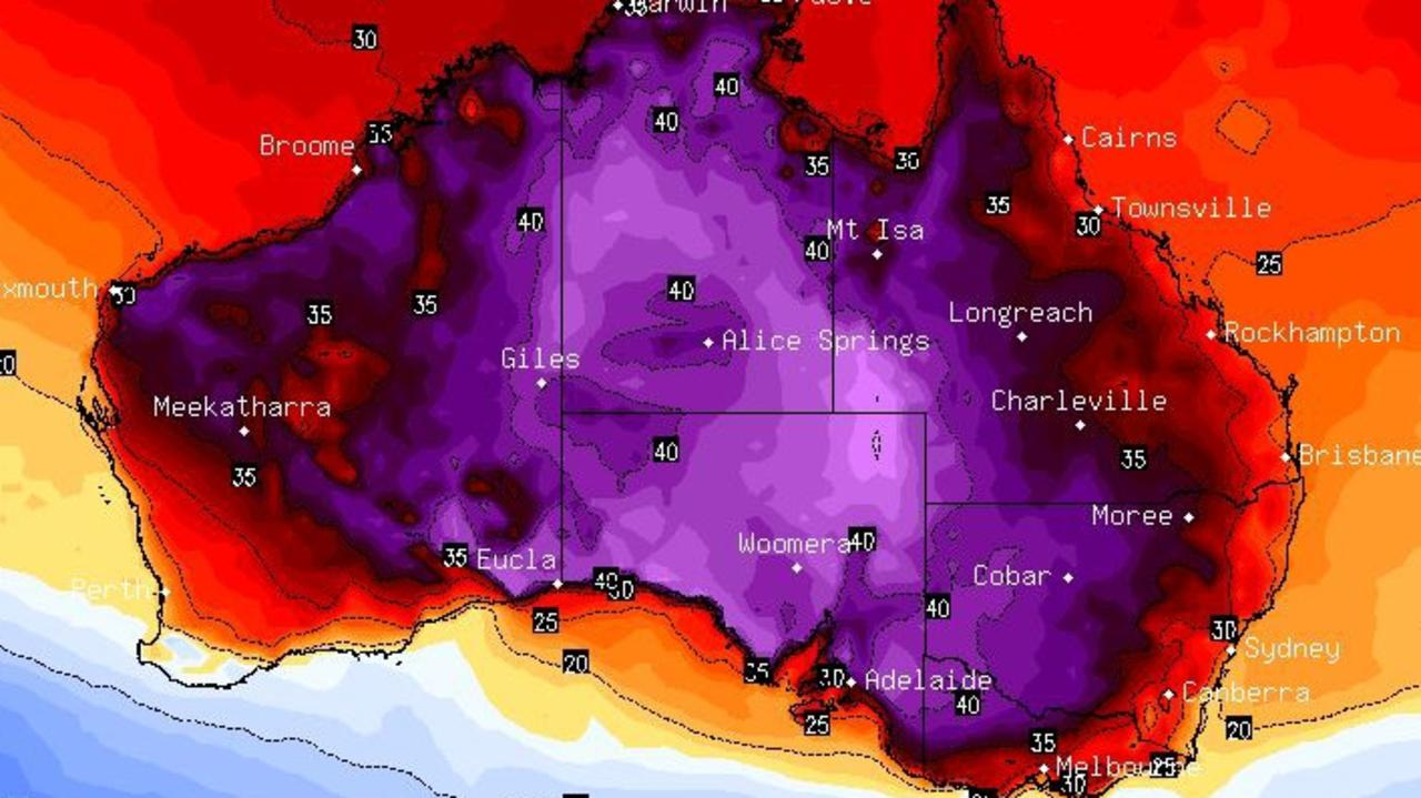 A 4500km conveyor belt of heat is stretching from Broome to Canberra. Picture: BSCH.