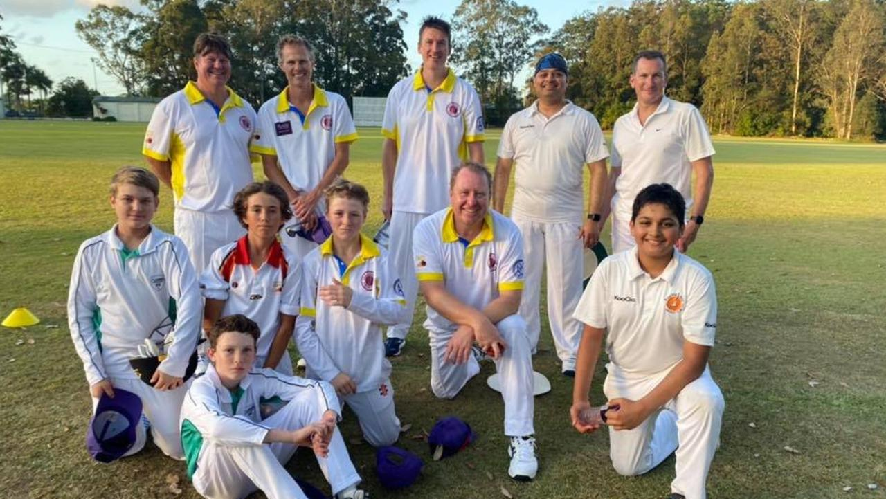 Teenager Tighe Morris, pictured fourth from left with his USC/Buderim team, hit an epic 223 during a senior Division 7 clash against Caboolture.