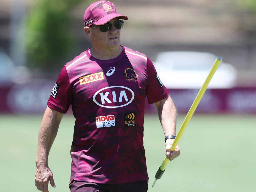 Kevin Walters keeps an eye on the Broncos during day one of pre-season training. Picture: Peter Wallis
