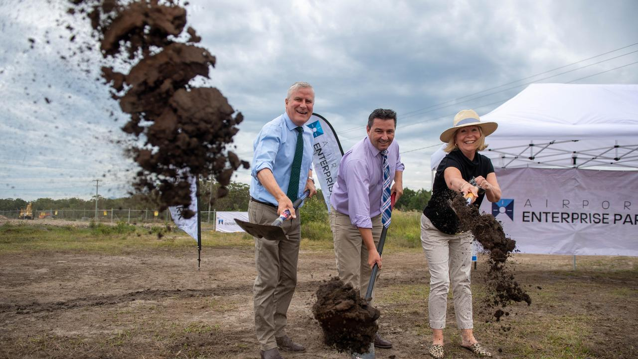 Deputy PM Michael McCormack, Federal MP Pat Conaghan and Mayor Denise Knight turned the first sod of the Enterprise Park development in January. The Federal Government is partly funding the development. Photo: Trevor Veale
