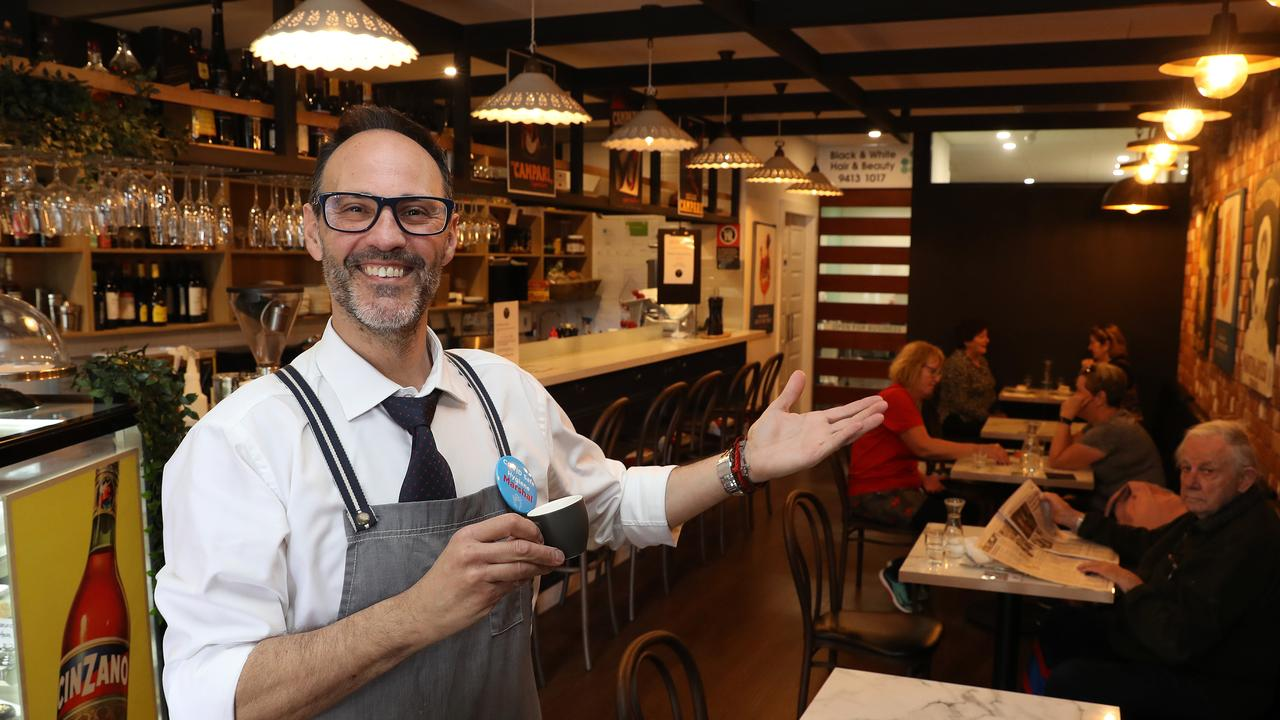 Zucchero Caffe Bar owner Valerio Domenici in Artarmon. Picture: Brett Costello