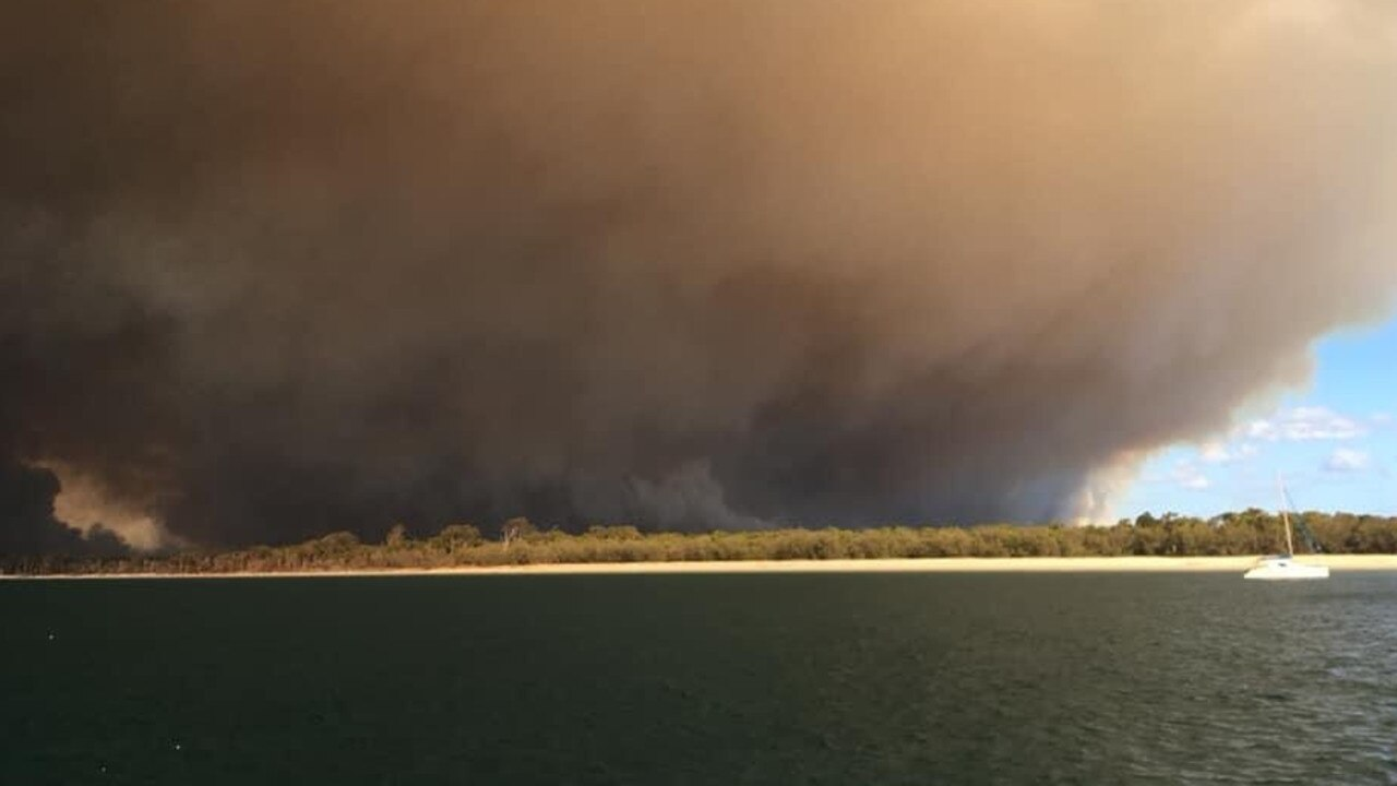 Photos of the fire burning on Fraser Island.